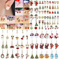 Christmas Crystal Enamel Earrings Dangle Stud Hook Xmas Party Women Fashion Gift
