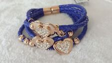 Hearts Leather Bracelet (Blue) (Price Reduced)