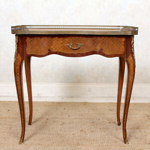 Antique French Desk Walnut Writing Table Louis VI Gilt Leather Marquetry Inlaid