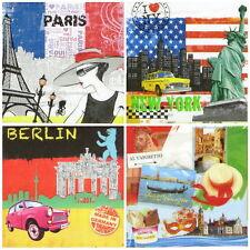 4x Tovaglioli di carta per decoupage Vintage Città-Mix Colorato