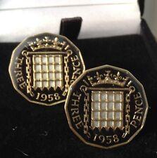 1958 Enamelled Elizabeth II Threepence Coin Cufflinks. Black/gold/silver. 59th
