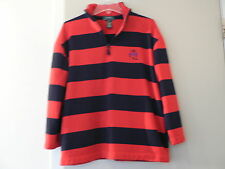 Lauren Ralph Lauren Classic Navy Blue Red Stripe Shirt Sz M Women's Long Sleeve