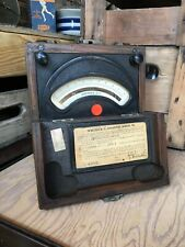 Vintage Weston Electrical Dc Ammeter Wooden Box 45 Steampunk Antique Gauge 1942