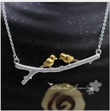 "925 Sterling Silver Golden Love Bird on Branch Pendant Chain Necklace 18"" Box S5"