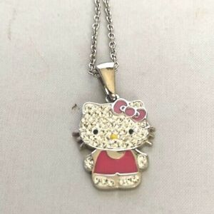 Hello Kitty Girls' Crystal and Enamel Pendant Necklace Rhinestones Pink