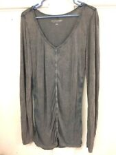 Soft Surroundings Long Sleeve Shirt- Size Small Gray- Ruched- Tunic- blue accent