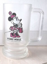 "Vintage Disney Minnie Mouse Glass Beer Stein Mug 5 1/2"" D Handle Rare"