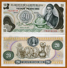 Colombia, 20 Pesos Oro, 1982, Pick 409 (409d), UNC