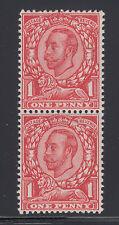 "Great Britain Sg 343a Mnh. 1912 1p Kgv pair, bottom ""No Cross on Crown"", Cert"