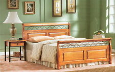 NEW SOLID PINE & METAL DOUBLE SLEIGH BED + ORTHO MATTRESS