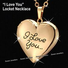 NEW Rose Gold Heart Locket Necklace I Love You MOTHERS DAY Gifts For Her Mum Mom