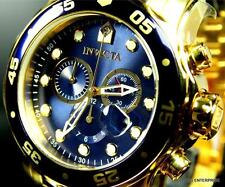 Mens Invicta Pro Diver Scuba Gold Plated Blue Chronograph Swiss Parts Watch New