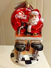 "Christopher Radko ""Santa'S Coke Break""ornament Santa at Counter 1016767, 6' Tall"