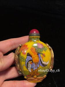 "3.16"" China Qianlong year Old glass Draw the pattern of Hehe Erxian snuff bottle"