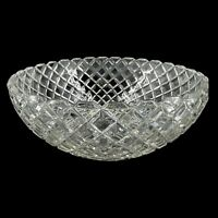 Vintage Clear Pressed Glass Serving Bowl Dish Diamond Cut Pattern 8""