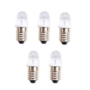 LED MES Screw Base E10 Lamp Bulb 10mm lens in White Red or Blue Pack of 5