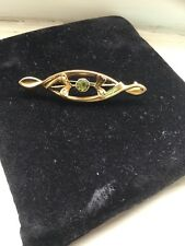 Hallmarked 9ct Yellow Gold Peridot Brooch With Pearls