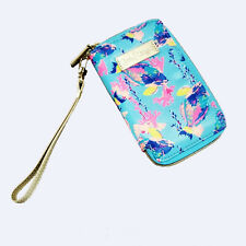 Lilly Pulitzer Tiki Palm Phone Case Wristlet Shorely Blue Gold Fish New kg1