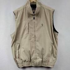 Pga Tour Collection Mens Golf Vest Beige Zip Up Mesh Lined Pockets Mock Neck Xl