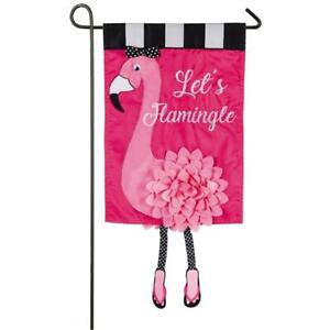 Let's Flamingle Sculpted Applique Garden Flag - 310 denier 100% nylon - NEW!