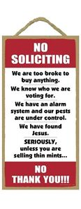 """NO SOLICITING Humorous Primitive Wood Hanging Sign 5"""" x 10"""""""