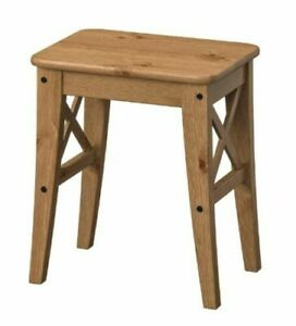 IKEA INGOLF Home Solid Wooden Stool 45cm Tall Durable Wooden Stool Natural Pine