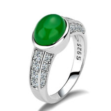 Gorgeous 925 Silver Rings Jewelry Women Oval Cut Emerald Wedding Ring Size 10