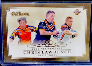 2021 NRL TRADERS '2020 RETIREMENTS' CARD R14/15 CHRIS LAWRENCE - TIGERS