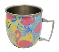 Barcraft Abstract Flamingo 18 oz. Stainless Steel Moscow Mule Mug / NEW