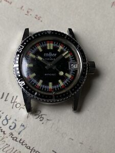 VINTAGE DIVERS WATCH CODHOR 17 JEWELS MID SIZE BLACK DIAL BEZEL FOR REPAIRS READ