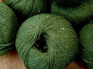 Job lot of  100%  Wool knitting yarn fine 3/4ply green tweed 10 x 50g @LOOK