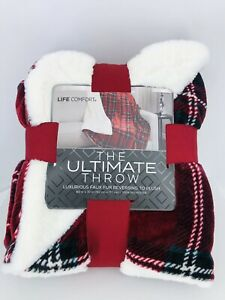 Red Plaid Luxurious Throw Faux Fur Reversing to Plush 60 x 70 in Christmas Gift