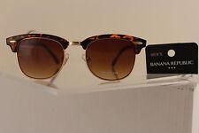 New Banana Republic Women Fashion Sunglass Gold Aviator Brown Lens BR Leopard