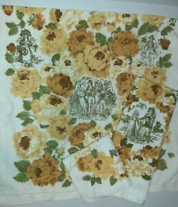 Vtg Fieldcrest Yellow Floral w/People 3pc Bath Towel Hand Towel Washcloth NEW
