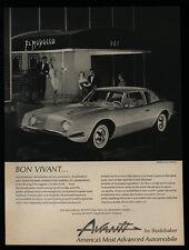 1962 STUDEBAKER AVANTI Sports Car - El Morrocco Club - Ceil Chapman - VINTAGE AD