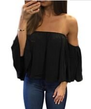Womens Off Shoulder Blouse Sexy Strapless Top Ladies Frill Crop Tops Vest Shirt