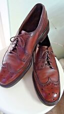Vintage Hanover LB Sheppard Brown Pebbled Leather Wing Tip Dress Shoes 9 M