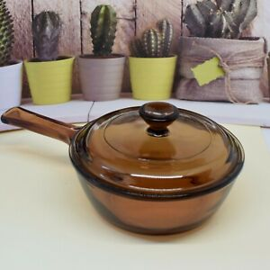 Vision Corning Ware Amber Glass 0.05L Saucepan with Pyrex lid.