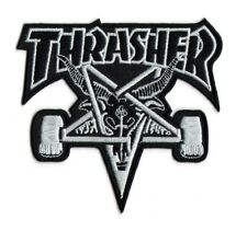 THRASHER Skate Iron On Sew On Skater Punk White Badge Patch