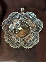Dish Vintage Clear cut Glass Shamrock, Four Leaf Clover starburst