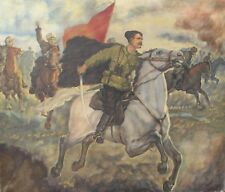 "ORIGINAL VINTAGE RUSSIAN OIL PAINTING ""CHAPAEV IN BATTLE"" SOVIET PROPAGANDA ART!"
