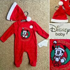 Disney MICKEY MOUSE Christmas Baby Sleepsuit & Hat - 0-3 Months - New! - Primark