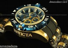 New Invicta Men 50mm ProDiver Chronograph 18K GP Stainless Steel Blue Dial Watch