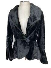 Vintage Women's Coat Sz L Black Velvet Button Peplum Victorian Edwardian Jacket