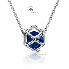18k white gold gf made with SWAROVSKI crystal filigree ball sapphire necklace