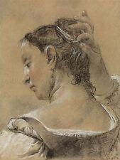 Domenico MAGGIOTTO ITALIANO giovane donna che fissa i capelli Arte Dipinto Manifesto bb5195a