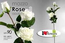 MAZZO MAZZOLINO FINTO A 3 ROSE BIANCHE 90 CM ASSORTITO FEZ-686313