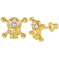 18k Gold Plated Cubic Zirconia Pirate Skull Crossbones Screw Back Girls Earrings