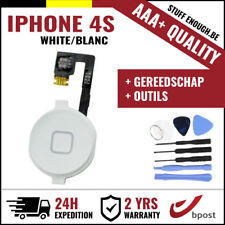 AAA+ Home Button Bouton Assembly & Flex Cable White + Tools For iPhone 4S
