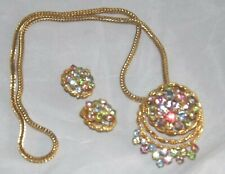 Pink Blue Green Rhinestone Pendant & Box Chain Necklace & Clip Earrings Vintage